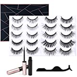 [10 Pairs] Lanvier Magnetic Eyelashes Eyeliner Kit, No Glue Reusable 3D 5D Magentic False Lashes Extension (2 Tubes of Liquid Eyeliner Included) - Black