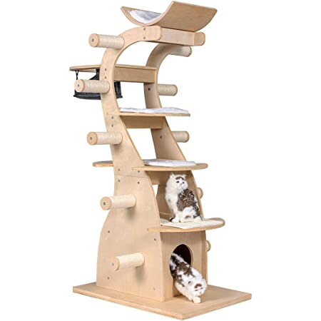 Multi-Level Modern Cat Towers On2Pets Cat Trees with Leaves Cat Activity Tree Made in The United States of America utilizing U.S and Imported Parts.