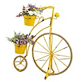 Metal Bicycle Plant Stand, Bike Flower Planter Holds Indoor Outdoor Wrought Iron Bicycle Planter Flower Stand Display Stand Balcony Garden Patio Decoration,Yellow
