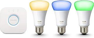 Philips Hue Kit Inicio White E27 Kit de 3 Bombillas LED E27 y Puente, 9,5 W, Iluminación Intelig...