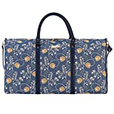 Signare Tapestry Large Duffle Bag Overnight Bags Weekend Bag for Women with Jane Austen Blue Design (BHOLD-AUST)