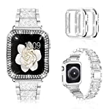 Mosonio Compatible with Apple Watch Band 38mm 40mm 42mm 44mm with Case Women, Jewelry Replacement Metal Wristband Strap with 2 Pack Bling PC Protective Cover for iWatch Series 6/5/4/3/2/1(Silver)