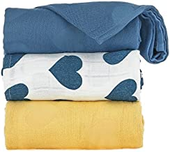 Tula Baby Blanket Set, 3 Pack of 47x47 Inches, 100% Viscose from Bamboo Unisex Swaddle Blankets – Tula Love Soleil (Blue & Yellow Hearts, Blue, Yellow)