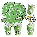 SUNBEAUTY Fussball Party Set Partygeschirr Fußball Geburtstag Dekoration, 16 Pappteller, 16 Pappbecher, 20 Strohhalme, Geburtstagsset Junge