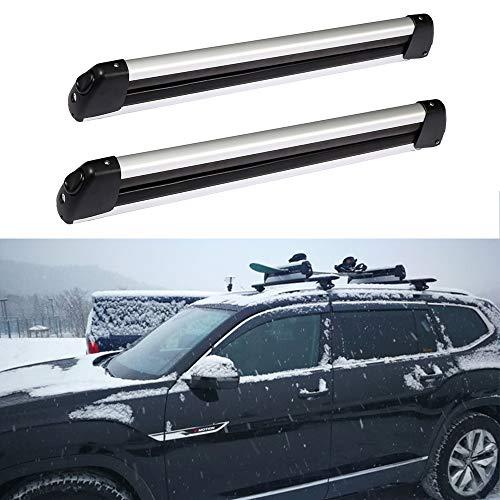 ROADFAR Rack Ski and Snowboard Carrier 4 Ski 2 Snowboard Carrier Holder with Lock Ski Rack for Car...