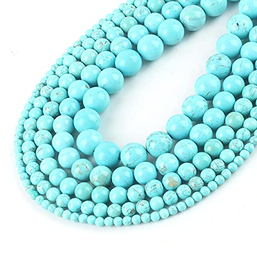 Turquoise Natural Stone Beads mar Sedimento suelto Malachite Beads para la fabricación de joyería DIY-Azul Howlite_Perlas de 10mm 37pcs