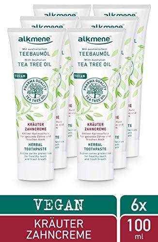 alkmene Kräuter Zahnpasta mit Teebaumöl - Zahncreme für empfindliche Zähne - vegane Zahnpasta ohne Silikone, Parabene & Mineralöl - Natürliche Toothpaste im 6er Vorteilspack (6x 100 ml)