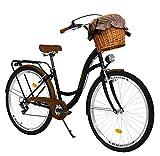 Milord. Bicicletta Comfort Nero e Marrone a 7 velocità da 28 Pollici con cestello e Marsupio Posteriore, Bici Olandese, Bici da Donna, City Bike, retrò, Vintage