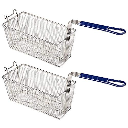 """2PCS Fry Baskets w/Handle & Front Hook Heavy Duty Nickel Plated Iron Construction for Commercial Home Use Deep Fryer Frying Chips Fish Sausages Samosas 13x6x6"""""""