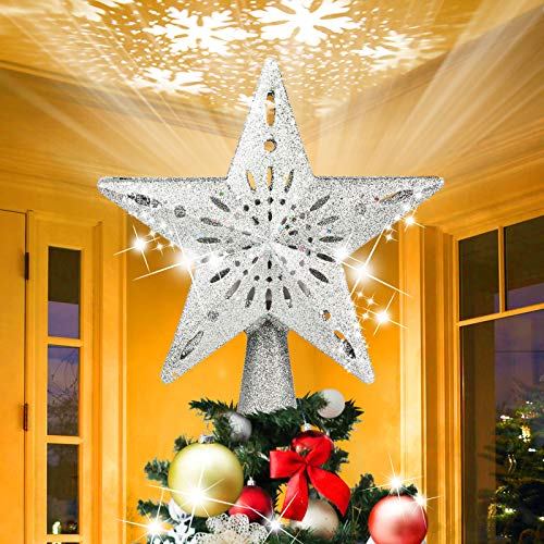 AHNNER Valentine's Day Star Project, Christmas Star Tree Topper with Rotating 3D Snowflake Projector, Silver Glitter Lighted Tree Topper for Xmas Tree Topper, Home Decorations Gift