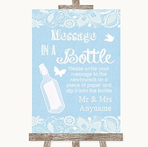 Blauwe jute & kant collectie blauwe jute & kant boodschap in een fles trouwbord Framed Oak Small