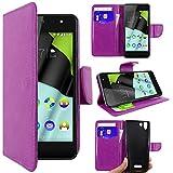 ebestStar - kompatibel mit Wiko Selfy 4G Hülle Kunstleder Wallet Case Handyhülle [PU Leder], Kartenfächern, Standfunktion, Lila [: 141 x 68.4 x 7.7mm, 4.8'']