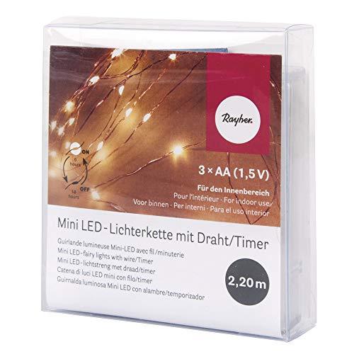 Rayher Mini LED-Lichterkette mit Draht/Timer, Diverse, Lichtgelb, 1.15 x 0.78 x 0.23 cm