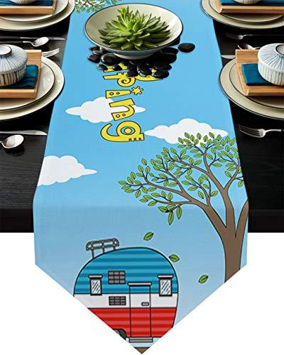 FAMILYDECOR Camino de mesa de arpillera de lino 14 x 172 pulgadas, Happy Camping Cartoon Vintage Caravan Farmhouse caminos de mesa para vacaciones fiestas, comedor, hogar, cocina, decoracion de boda