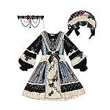 W.Z.H.H.H Traje de Criada Pájaro en el Espejo Dulce Lolita Vestido Gótico Negro Vestido Victoriano Mujeres Tallas Lolita Op Kawaii Ropa (Color : Full Set, Size : XL)