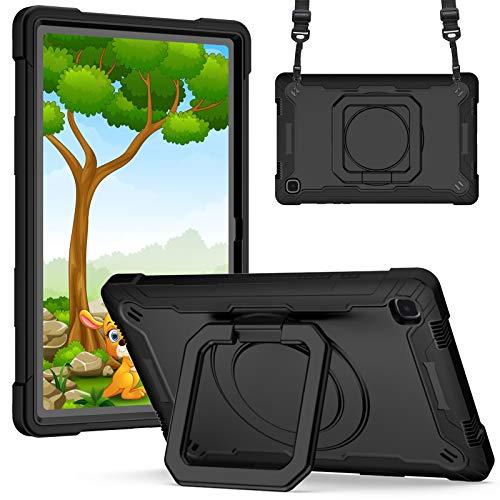 KATUMO Funda para niños Compatible con Samsung Galaxy Tab A7 10.4 2020 (T500 / T505 / T507), Funda para Galaxy Tab A7, (Soporte Giratorio de 360 ° y Correa) Funda Protectora,Negro