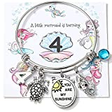 4th Birthday Gifts for Dughter Granddaughter Niece You Are My Sunshine Bangle Mermaid Turtle Charm Bracelet Sea Beach Lover Jewelry for 4 Year Old