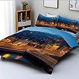 Juego de funda nórdica, vista nocturna de Amsterdam, famoso monumento de arquitectura de viajes urbanos europeos, juego de cama decorativo de 3 piezas con 2 fundas de almohada, azul marigold tan, el m
