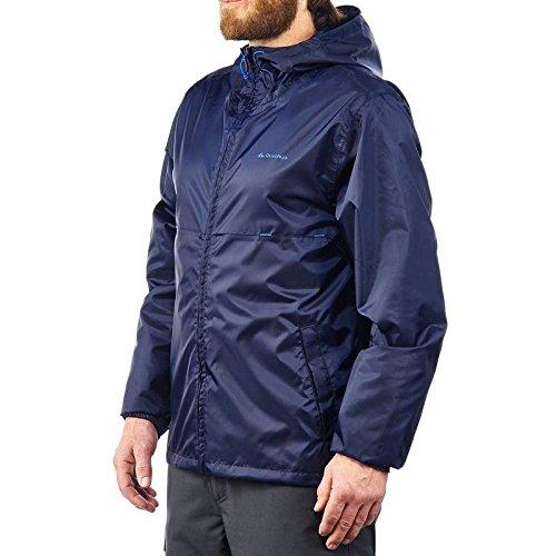 Quechua Rain Cut Zip Men's Hiking Waterproof Rain Jacket Blue (L)
