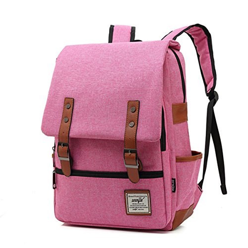 Minetom Casual Escuela Unisex Moda Vintage Mochila Backpack Rucksack Mochila Escolar para Ordenador Portátil Rosa Roja 16 Pulgada
