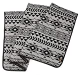 Ruth&Boaz Outdoor Wool Blend Blanket Ethnic Inka Pattern(K) (ASH Grey, Large)