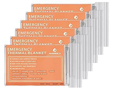 Emergency Mylar Thermal Blankets -Space Blanket Survival kit Camping Blanket (Pack of 6). Perfect for Outdoors, Hiking, Survival, Bug Out Bag ?Marathons or First Aid