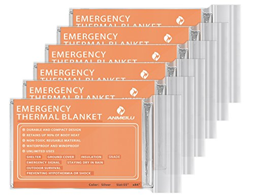 Emergency Mylar Thermal Blankets -Space Blanket Survival kit Camping Blanket (Pack of 6). Perfect for Outdoors, Hiking, Survival, Bug Out Bag ,Marathons or First Aid