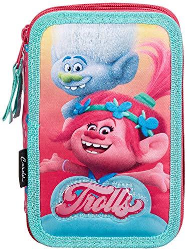 Cerdá DreamWorks Trolls 2700000227, Astuccio 3 Scomparti, Bambina, 19cm, 43 Accessori Scuola, Poppy
