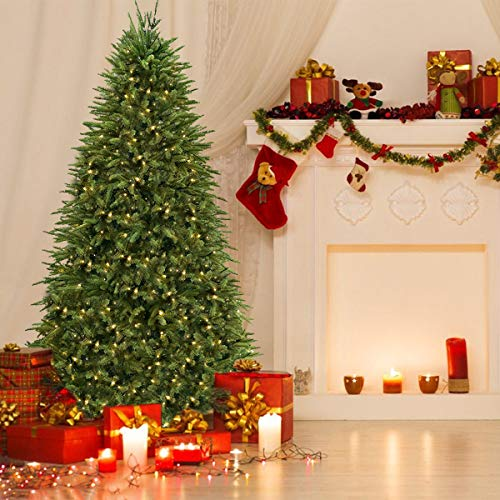 Timechee 6FT Pre-lit Artificial Christmas Tree, Hinged Spruce Christmas Tree with 800 Branch Tips and 400 LED Warm Lights, Douglas Full Fir Xmas Tree for Holiday Decoration
