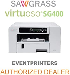 Sawgrass Virtuoso SG400 Printer. Bundle with Complete Set of Sublijet HD Inks and 110 Sheets of Our Sublimation Paper Made in Japan.
