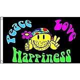 AZ FLAG Bandera Arcoiris Paz Amor Y Felicidad 90x60cm - Bandera Gay – Rainbow - SÍMBOLO LGBT - Peace Love and Happiness 60 x 90 cm
