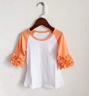 Nobrand Fall Spring Black Raglan Ruffle T-Shirts Ruffle 3/4 Sleeve Shirts Aqua Blue Icing Shirt for Girl