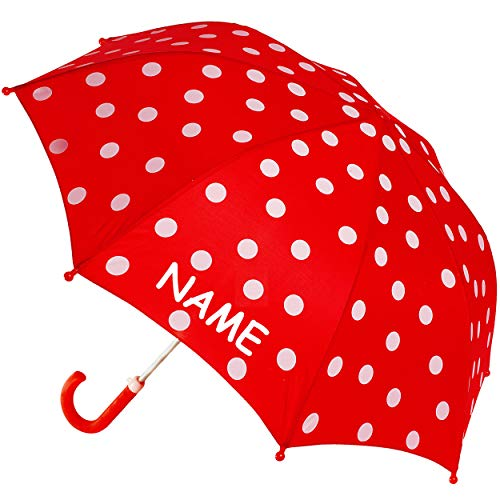 alles-meine.de GmbH Regenschirm / Kinderschirm - Punkte - rot & weiß - inkl. Name - Ø 68 cm - Kinder Stockschirm - Regenschirm - Schirm für Mädchen Jungen - Kinderregenschirm / G..