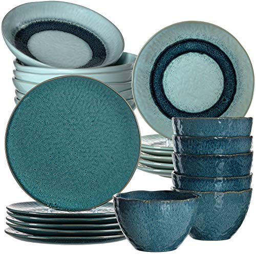 Leonardo 026059 Matera - Vajilla de gres (24 piezas, platos, cuencos, apto para lavavajillas, 980 ml, diámetro de 20,7, 22,5 y 27 cm), color azul