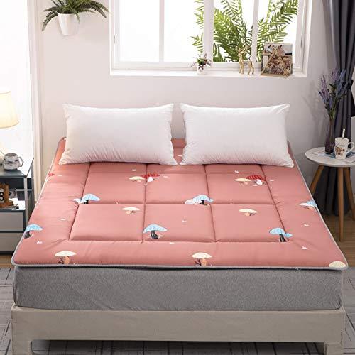 YPSM Respirable Colchon Tatami Japones Almohadilla para Dormir,Plegable Roll Up Alfombrilla De Suelo De Tatami Colchón De Camping,para Dormitory Tienda Salón Dormitorio-Seta Rosa 180×200cm(70×79inch)