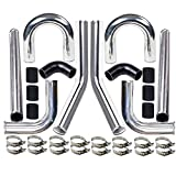 MooSun 2' 8-Pcs Universal Intercooler Pipe Piping Turbo Polished Aluminum Kit with Silicone Hoses and Stainless Steel T-Clamps