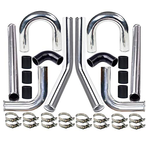 """MooSun 2"""" 8-Pcs Universal Intercooler Pipe Piping Turbo Polished Aluminum Kit with Silicone Hoses and Stainless Steel T-Clamps"""