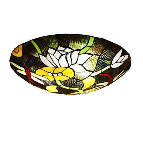 QNMM Tiffany Style Deckenbeleuchtung, Unterputz Deckenleuchte Glasmalerei Lampenschirm Schlafzimmer Leuchte Glasschirm Leuchte Für Schlafzimmer Wohnzimmer Hotel Küche