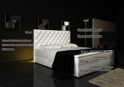 Boxspringbett Weiß Panama Lift 160×200 inkl. 2 Bettkästen Hotelbett Bett LED Chesterfield - 2