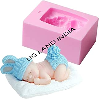 UG LAND INDIA 3D Sleeping Baby with a Pillow Soap Molud Baby Shower Silicone Mould for Fondant, Cake Topper Decorating, Lo...