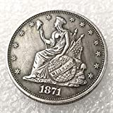 DengRen 1871 Liberty Uncirculated Morgan Dollar 50-Cents Replica Coin- Commemorative US Old Coins- Hobo Nickel Old Coin - Discover History of US Coins Satisfactory Service