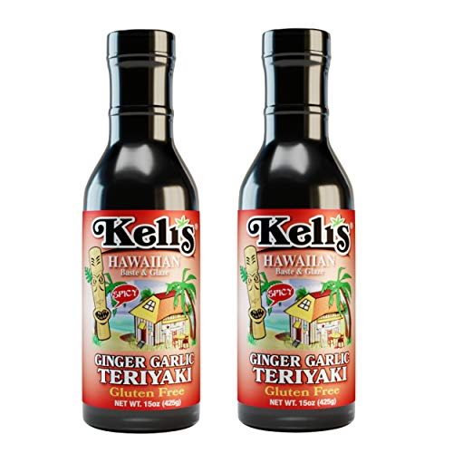 Keli's Spicy Ginger Garlic Teriyaki Sauce. Low Sodium, Gluten Free & Vegan Ginger Garlic Teriyaki Glaze and BBQ Sauce. Hot and Spicy Lover Approved! Made with Gluten Free Soy Sauce (15oz) (Pack of 2)