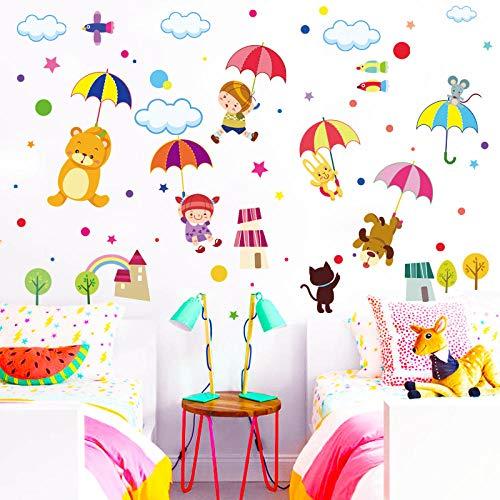 Qingmo Abnehmbare TiermäRchen Bunte Regenschirmapplikation MäDchen Junge Schlafzimmer Dekoration Wandaufkleber