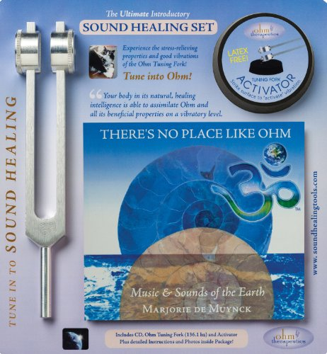 Ohm Therapeutics INTRODUCTION TO SOUND HEALING SET features Ohm Tuning Fork, Activator, Instructions for use, plus harmonizing Music in key of Ohm, perfect for self-care and professional use