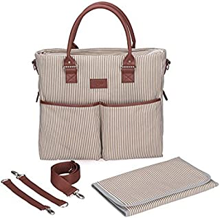 French stripe Canvas Diaper Bag - Waterproof Changing Pad - Unisex (Brown)