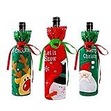 Couverture de Bouteille de Vin de Noël 3 Pcs sacs de vin rouge pour habiller bouteille de vin réutilisable sacs-cadeaux de vin pour le dîner à la maison décoration de fête décoration de table décor