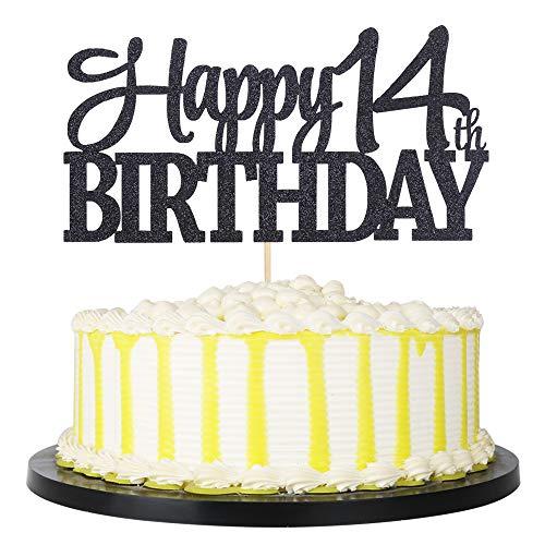 PALASASA Black Glitter Happy 14th Birthday cake topper - 14 Anniversary Party Decoration (14th)