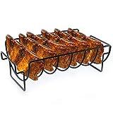 Rehomy Estante de costilla para parrilla con superficie antiadherente, soporte para costillas de hierro, 6 costillas para asar