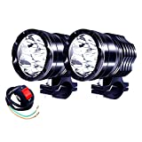 Motorcycle Led Driving Lights, 2x Bicycle 40W High/Low/Strobe 12V 24V Spotlights With Switch