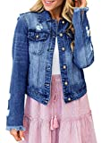Luyeess Women's Casual Long Sleeve Button Down Pocket Basic Stretch Ripped Denim Jean Jacket Blue Size XX-Large